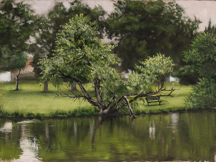 An alla prima landscape painting of a pond in a city park in Northglenn, CO.