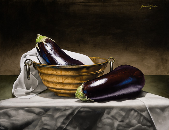 A still life painting of eggplants and an antique copper bowl.