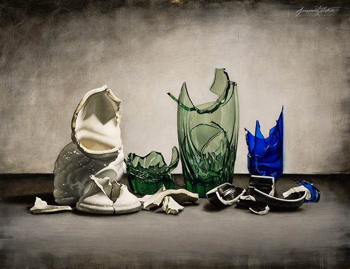 A still life painting of broken glass and ceramic.