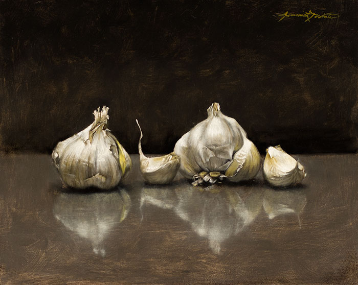 A painting of two whole garlic pieces with two cloves broken off in a still life style setting. The garlic is set against a grey background.