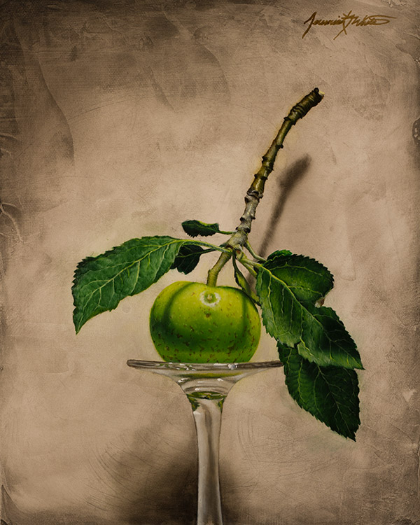 A still life painting of a green apple fresh from the tree in our yard. This painting was displayed at the Miniatures and More show at the Albuquerque Museum, 2014.