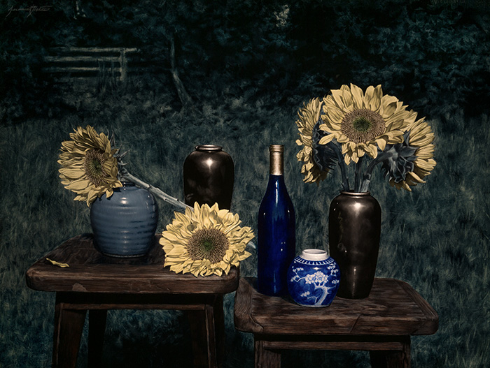 A night still life painting of sunflowers, a blue wine bottle, asian ceramic jar, and other jars during a blue moon.