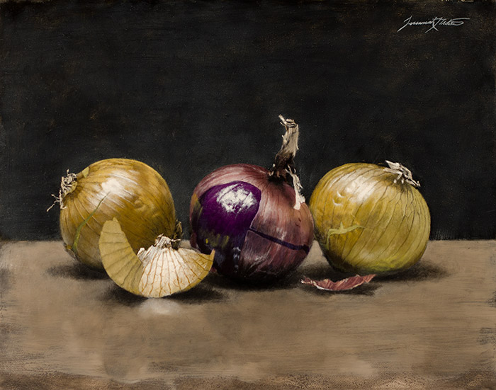 A painting of three onions in a still life style setting. There are two yellow onions and one purple onion in the middle. The onion skin is slightly peeled and you can see light passing through and reflecting off of them. This painting was featured in Southwest Art Magazine.