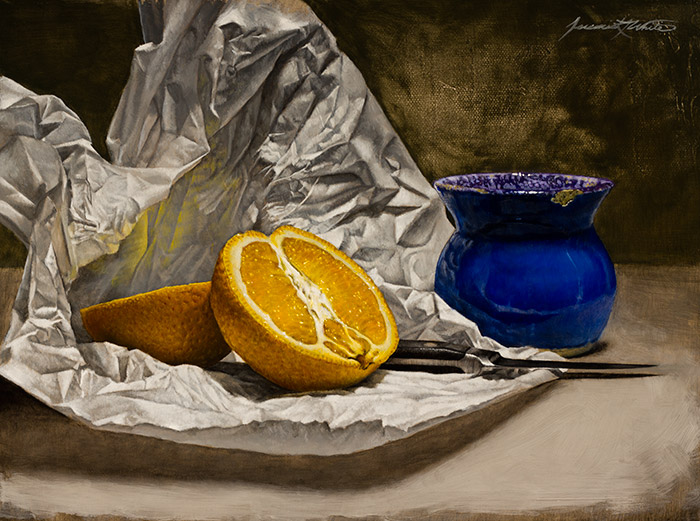 A still life painting of an orange cut in half, surrounded by white tissue paper, a paring knife, and a blue glazed clay pot.