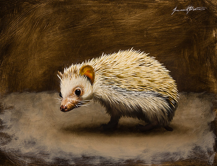 An animal painting of our 3-legged pet hedgehog named Penny.