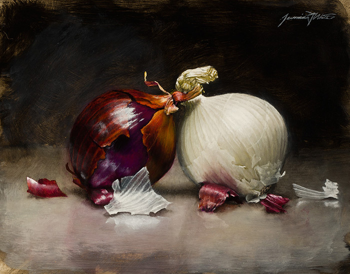 A still life painting of a purple and white onion showing outer layers peeling.