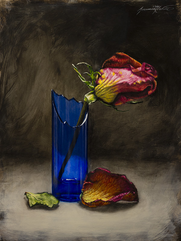A still life painting of a dried rose in a broken cobalt blue vase. A petal and a leaf lie in front of the vase.