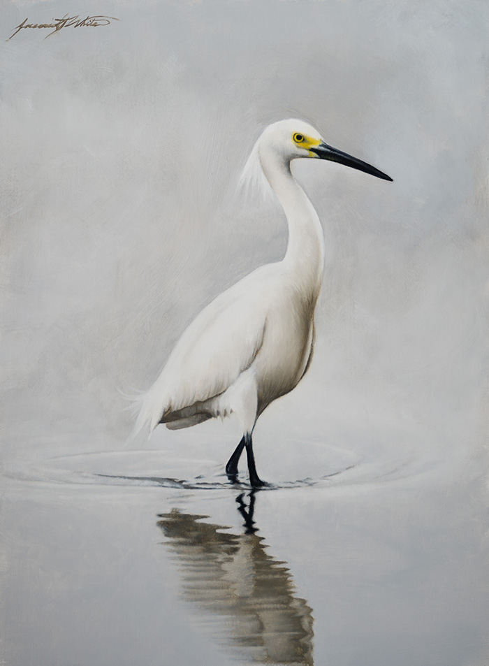 A painting of a snowy egret wading in the water on a rainy, cloudy day.