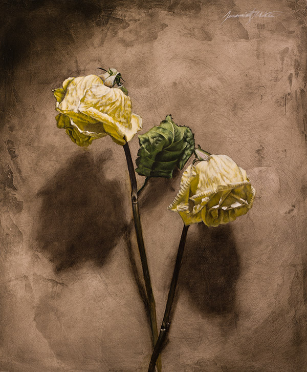 A still life painting of two dried roses on a wall. This painting was displayed at the Miniatures and More show at the Albuquerque Museum, 2014.
